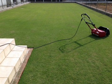 芝刈り後の裏庭の芝生。平坦で美しい緑。手前には赤い芝刈機。