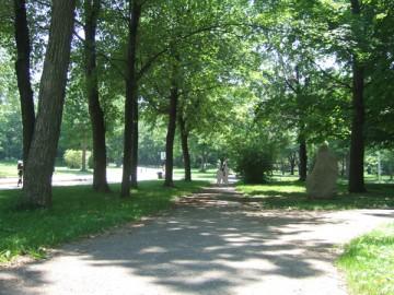 モントリオールにあるアングリニョン公園の並木道。遠くに人影。