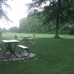 同じくアングリニョン公園の芝生でフリスビーをする家族。