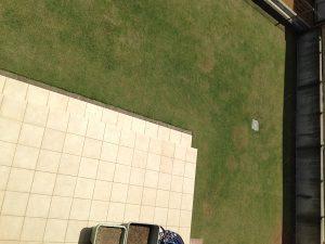 作業後の裏庭の芝生。2階のバルコニーから西側を撮影。