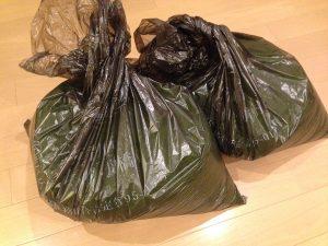 刈り芝。ゴミ袋に軽く2袋。