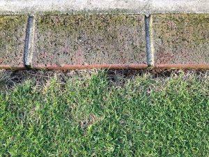 エッジ処理で切りすぎてレンガとの間に隙間がある箇所が茶色くなっている。