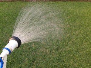 散水ノズルで芝生にロブラールを散布。